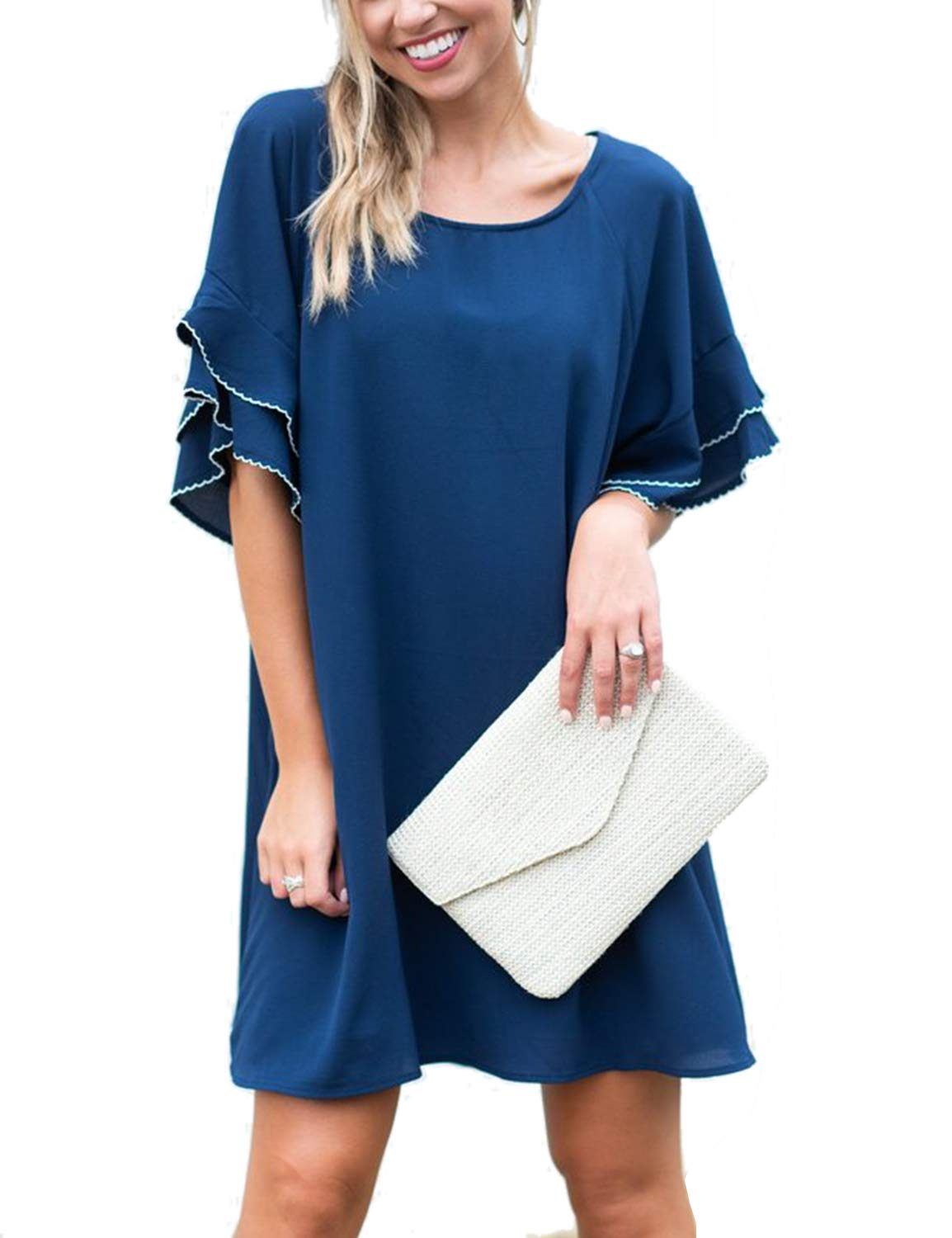 Blooming Jelly Women's Loose Short Ruffle Sleeve Round Neck Shift Dress Blue
