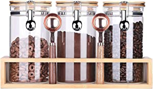 Kebert Borosilicate Glass Food Storage Jars with Airtight Lids, Sealed Glass Containers for Kitchen Pantry Coffee Bean Candy Sugar Cookies,Locking Clamp Bamboo Lids Glass Jars 40oz X 3 + Rack + Spoons