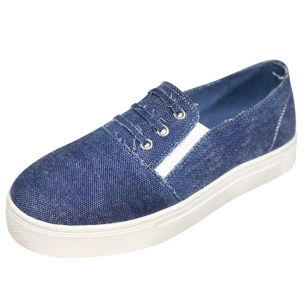 Cenglings Women's Casual Round Toe Denim Flat Canvas Shoes Hollow Out Platform Sneakers Flat Loafers Office Shoes by Cenglings