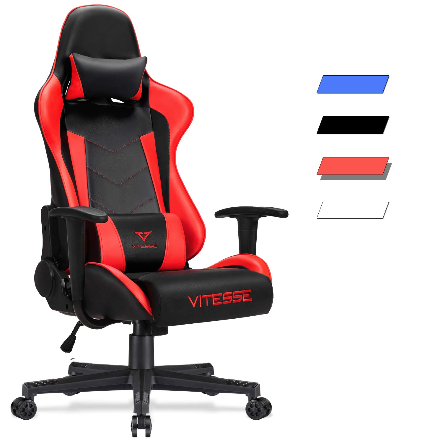 Vitesse Gaming Chair (Sillas Gaming) Video Gaming Chair Ergonomic Computer Desk Chair High Back Racing Style Comfortable Chair Swivel Executive Leather Chair with Lumbar Support and Headrest (Red-1) by Waleaf