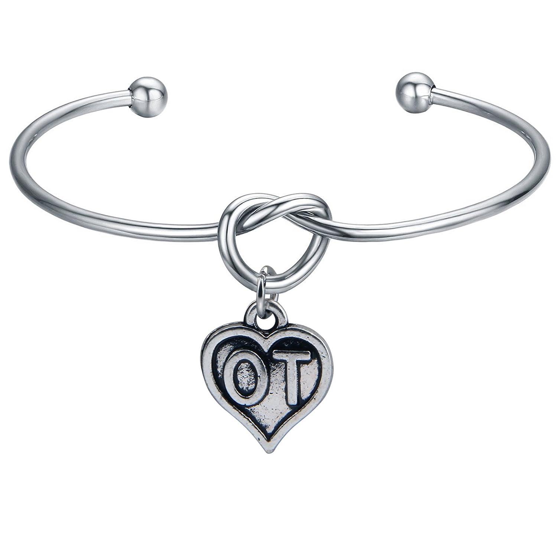 FEELMEM Occupational Therapist Jewelry Therapy Bracelet Love Knot with OT Charm Bangle Bracelet Graduation Gift OT Gift