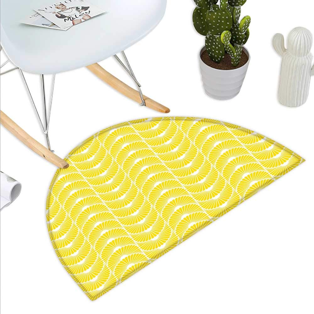 color13 H 19.7  xD 31.5  Yellow and White Semicircle Doormat Monochrome Ornament Pattern Abstract Dandelion Blossoms Shabby colors Halfmoon doormats H 27.5  xD 41.3  Marigold White