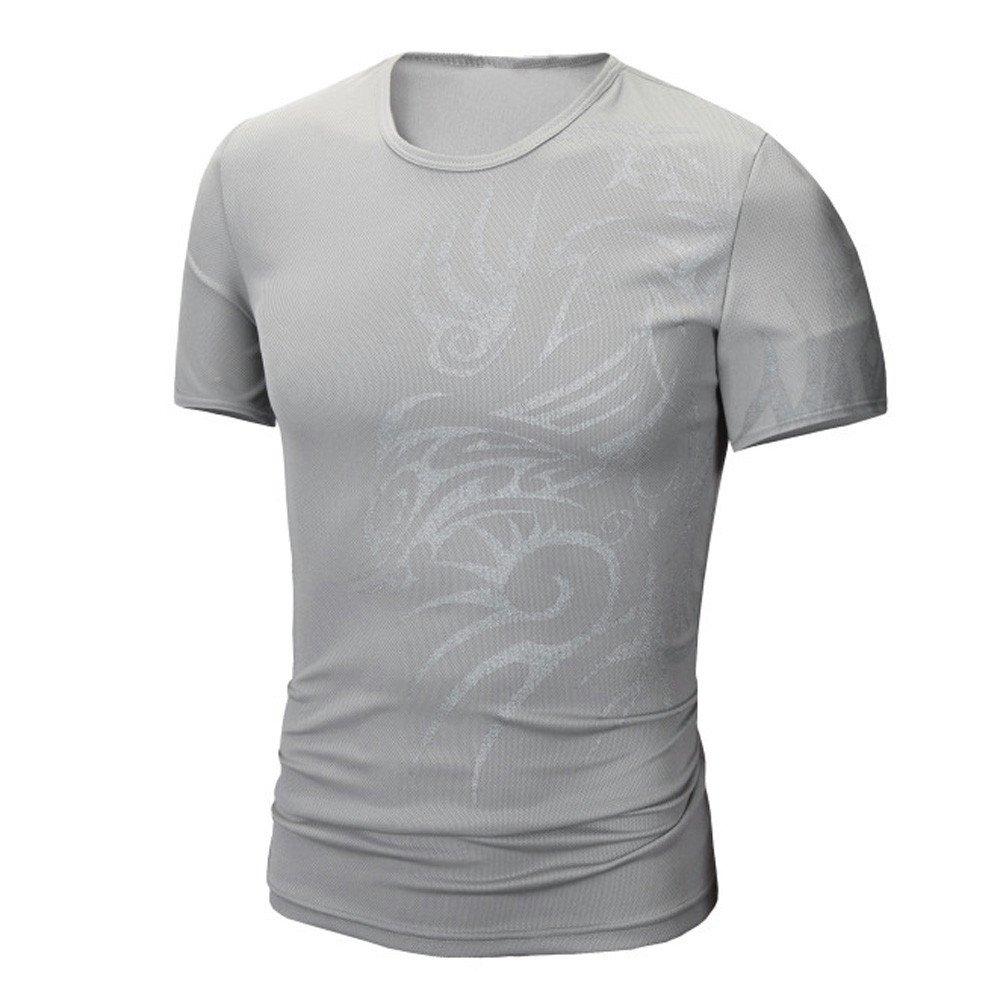 PASATO Men Summer Round Neck Tee Printing Men's Short-Sleeved T-Shirt Top Blouse(Gray,M=US:S)