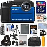 Panasonic Lumix DC-TS7 4K Tough Shock & Waterproof Digital Camera (Blue) 64GB Card + Battery + Case + LED Video Light + Buoy + Action Mounts Kit