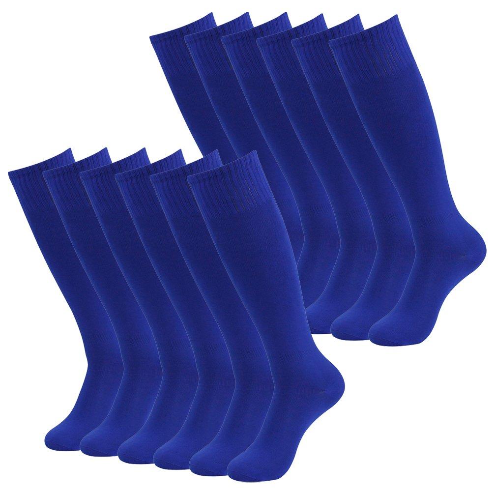 Football Socks Mens, RTZAT Unisex Women Soild Color Team Sports Soccer Socks 12 Pairs Blue by RTZAT