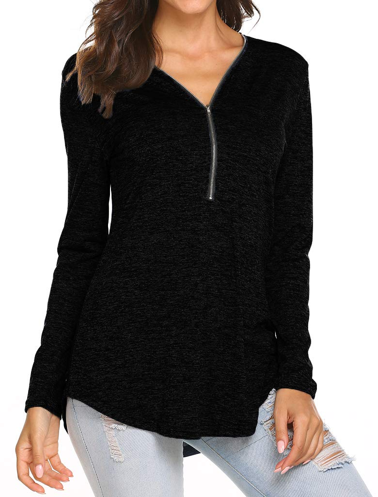 Locryz Womens Loose Fitting Zip Up Blouses Long Sleeve Tops Tunic Casual Shirt M Black