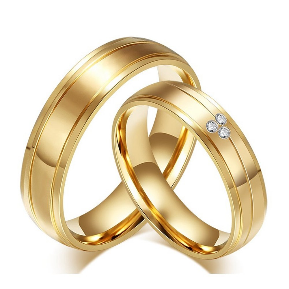 GINBL Titanium Women Men Couple Rings for Him and Her Cubic Zirconia Engagement Promise Wedding Bands weddingbands31
