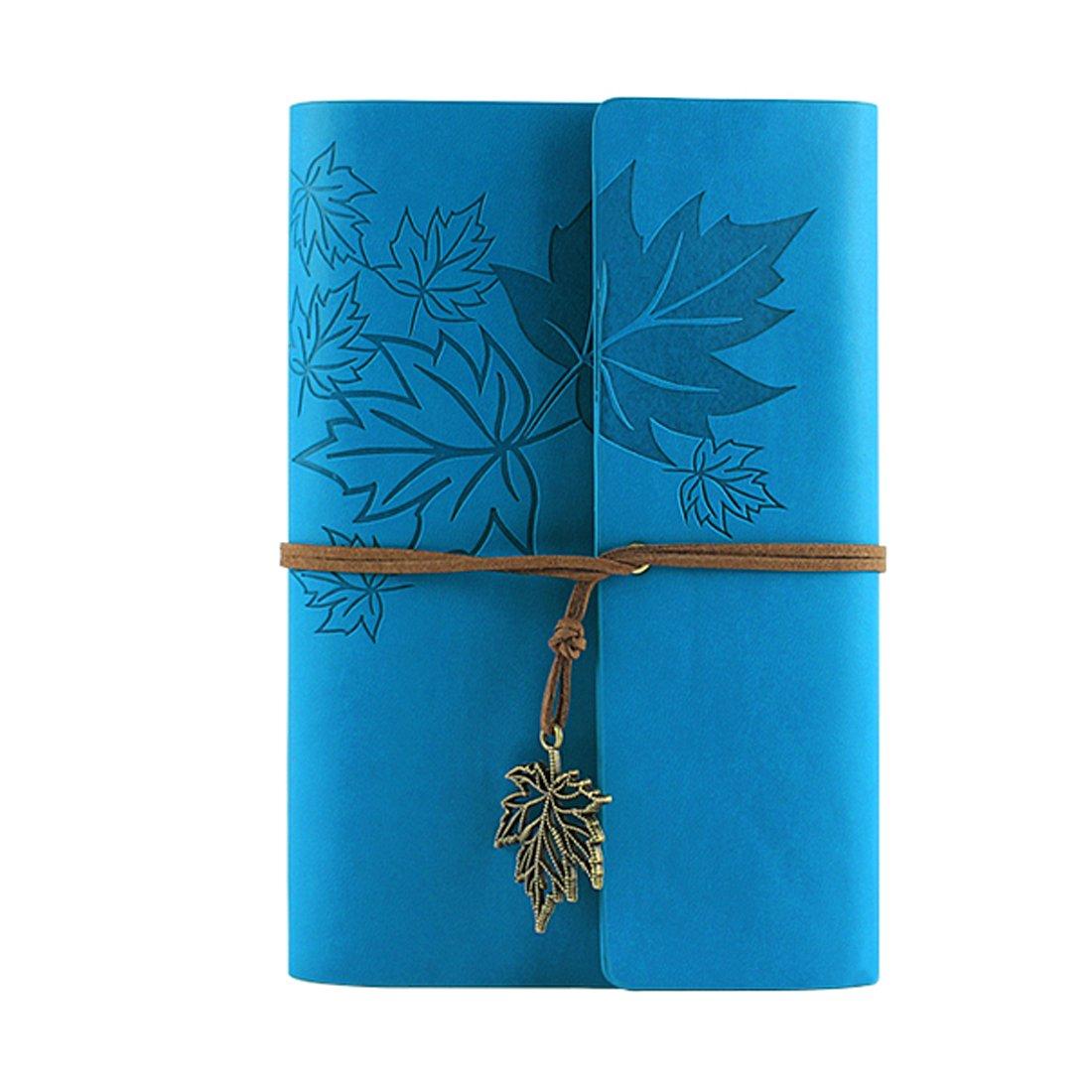 Wenosda Vintage Notebook / Blocco note Libro del diario in bianco ricaricabile per ufficio / scuola / viaggio Souvenir regalo (Verde intenso foglia di acero 7.1X5.1 inch, 180*130mm)