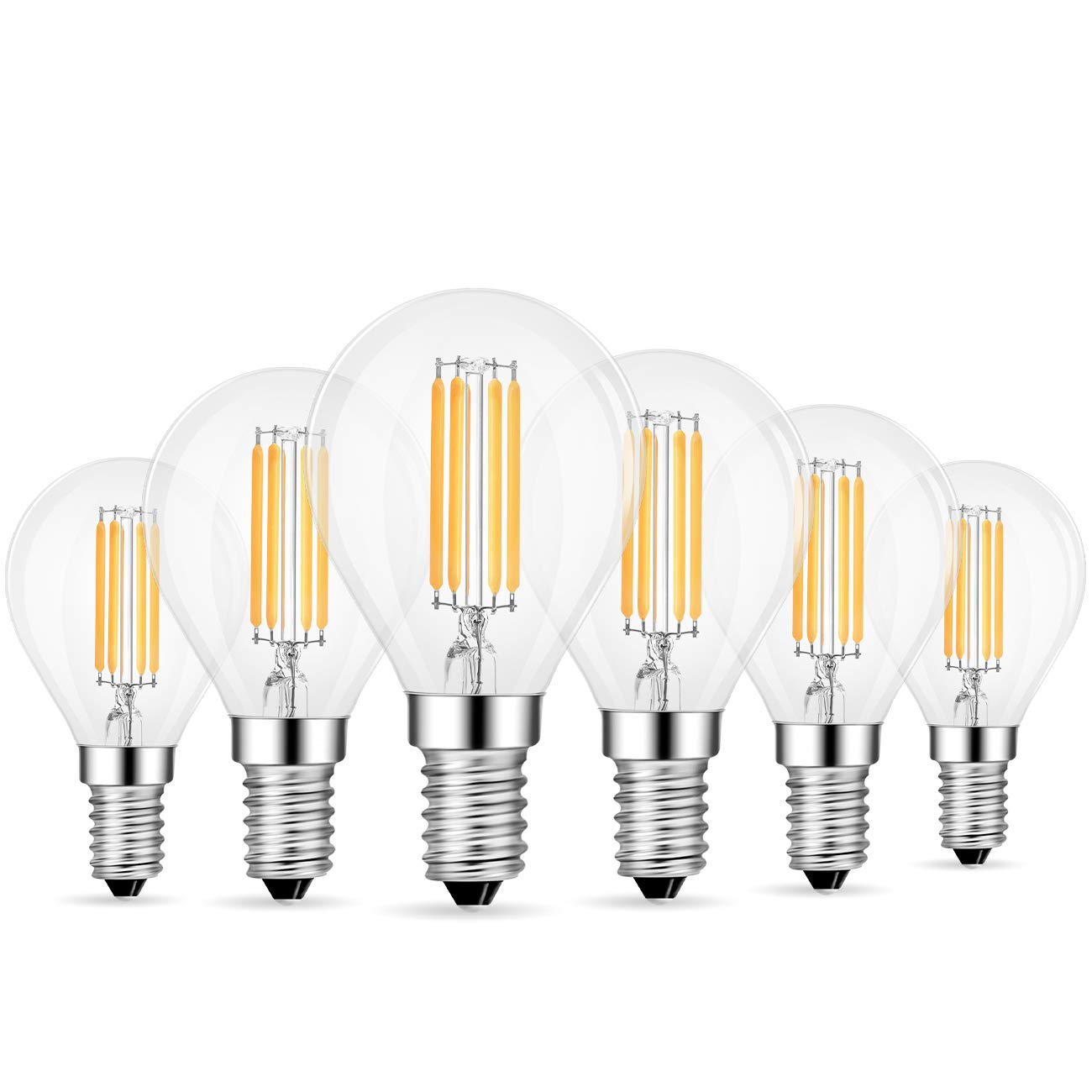 ANWIO G14 Dimmable LED Filament Bulb 4W(40W Equivalent), 3000K Soft White, E12 Screw Base LED Globe Bulb, Pack of 6