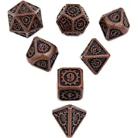 Antique Copper DND Metal Dice with Gear Number 7pcs Set for Dungeons and Dragons RPG MTG Table Games D&D Pathfinder…