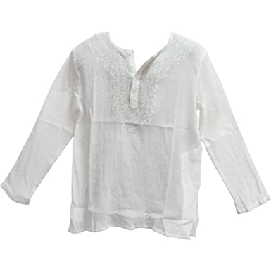 Amazon.com  Yoga Trendz Mens Indian White Bohemian Crinkled Gauze Cotton  Embroidered Tunic Shirt Kurta  Clothing ba25efdd9