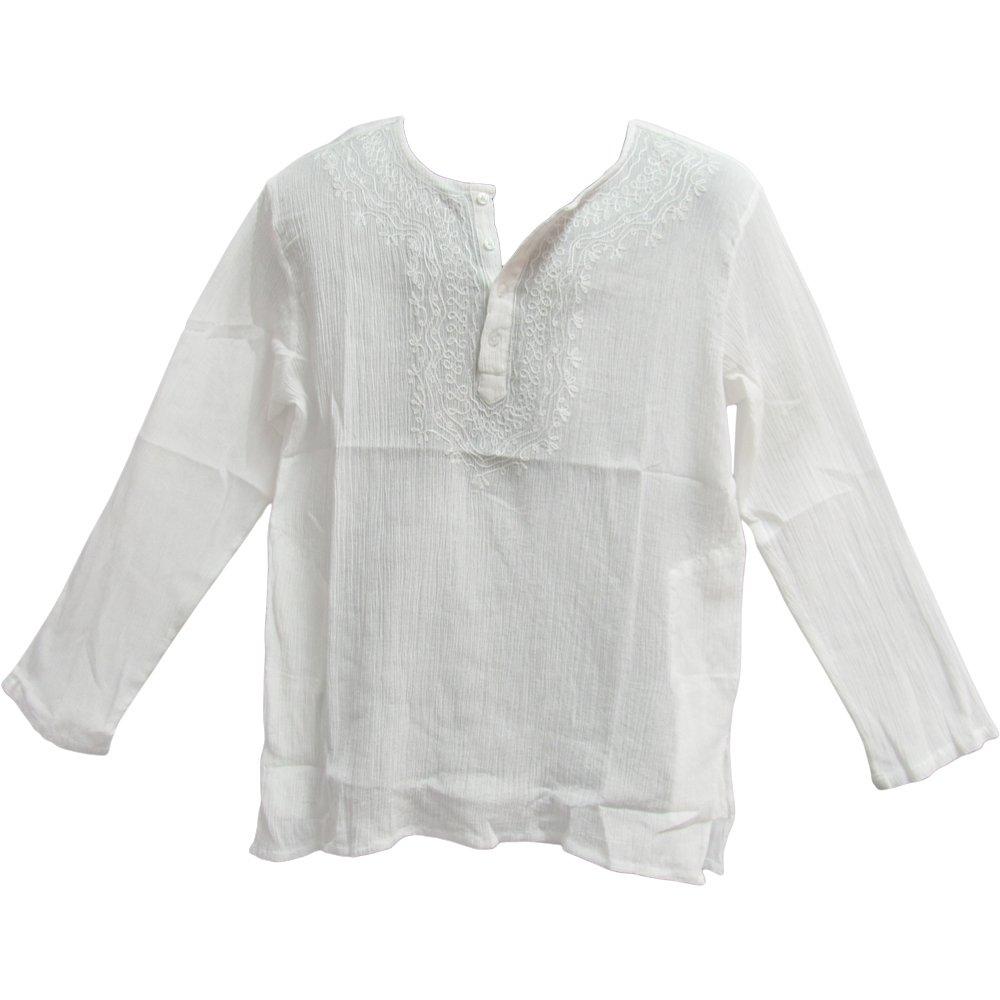 Mens Indian White Bohemian Crinkled Gauze Cotton Embroidered Tunic Shirt Kurta (XL)