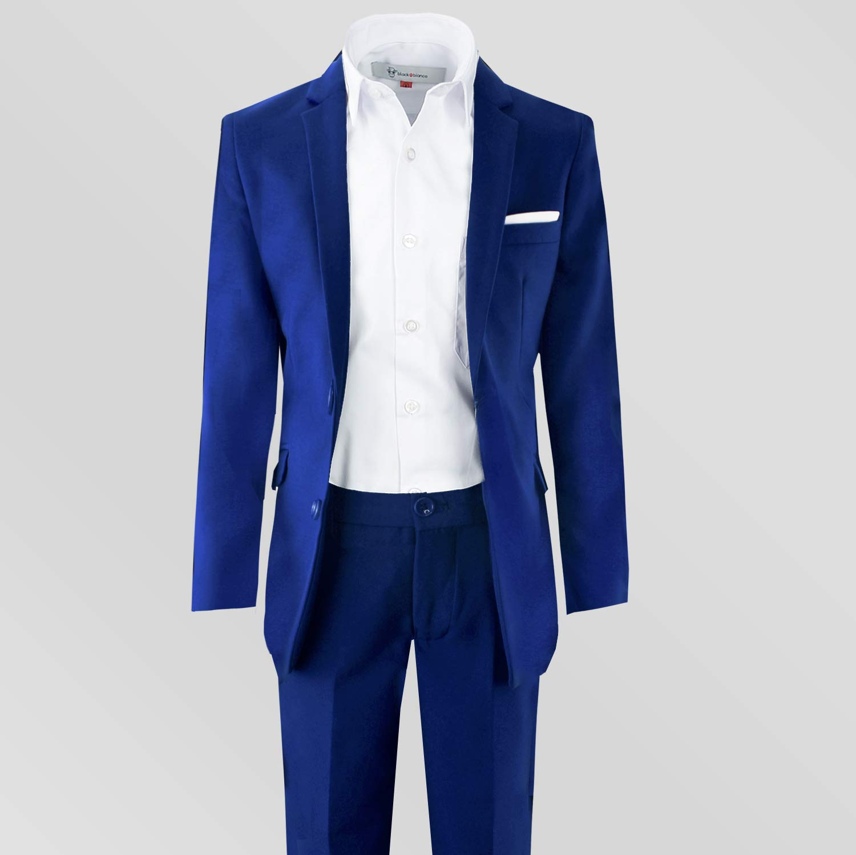 Black n Bianco Signature Boys' Slim Fit Suit Complete Outfit (7, Blue) by Black n Bianco (Image #3)