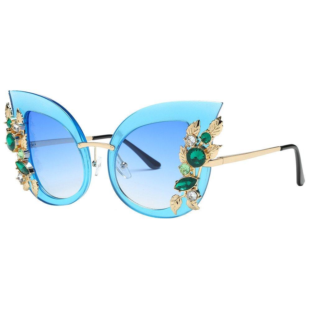 Scaling Sunglasses Unisex Vintage Cat Eye crystal Metal Frame Reflective Lens Radiation UV Protection Polarized Eyewear