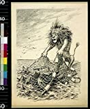 Photo: Lion drawing in net filled with wrecked trawlers, World War I, WWI, Submarine War . Size: 8x1