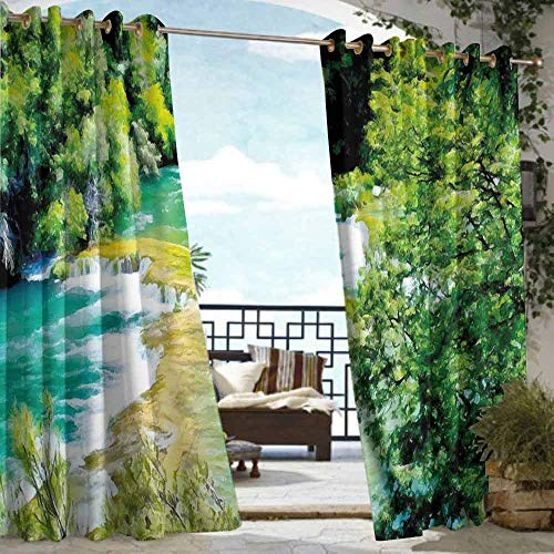 (Outdoor Door Curtain Nature Exquisite Jungle with Waterfall Foliage Lake Magic Forest Dreamy Eco Image Energy Efficient, Room Darkening W84 xL72 Lime and Fern Green )