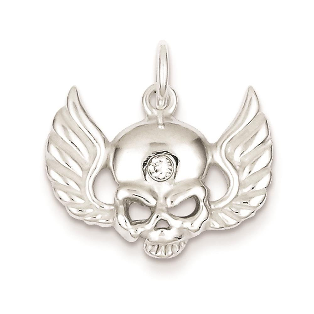 925 Sterling Silver Open-back CZ Skull with Wings Polished Charm Pendant