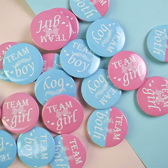 1.5 Inches Favide 40 Pieces Gender Reveal Button Team Boy Girl Button Pins for Baby Shower Party Supplies