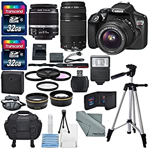 Canon EOS Rebel T6 DSLR Camera with EF-S 18-55mm f/3.5-5.6 IS II Lens, EF 75-300mm f/4-5.6 III Lens, Bundle
