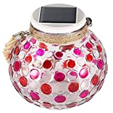 Mosaic Solar Lamp, LAFEINA Color Changing Waterproof Glass Jar Night Lights, Solar Powered Table Lamp, Decorative Mood Lights with Hanging Rope for Outdoor Garden Patio(Red)