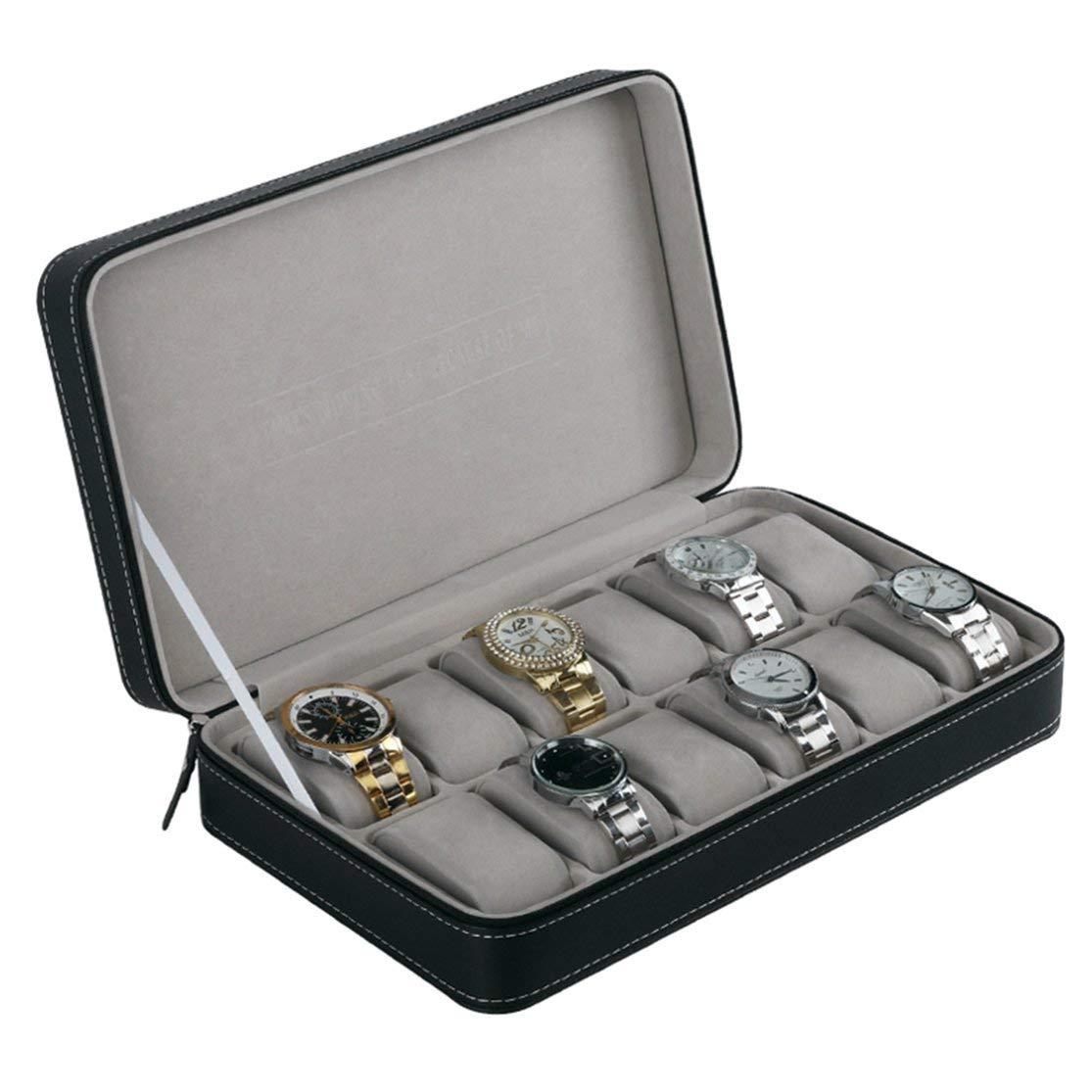 LouiseEvel215 Tragbare 12 Slots Uhr Display Aufbewahrungsbox Veranstalter mit Rei/ßverschluss klassischen Stil multifunktionale Armband Vitrine