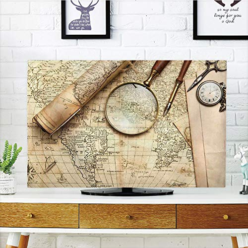 (iPrint LCD TV dust Cover Customizable,Wanderlust Decor,Vintage World Map with Old Retro Objects and Magnifier Discovery Theme in Anthique Print,Cream,Graph Customization Design Compatible 55