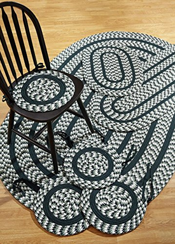 Better Trends Crescent 7-Piece Braided Rugs Set, 50 by 80-Inch, Hunter (Braided Rug Set)