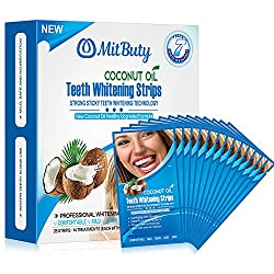 MitButy Teeth Whitening Strips - 28 Non-Slip White Strips with Natural Coconut oil, Professional Safe Effects Whitestrips, 14 Treatments