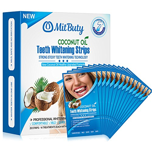 MitButy Teeth Whitening Strips with Natural Coconut oil, 28 Non-Slip White Strips - Professional Safe Effects Whitestrips, 14 Treatments