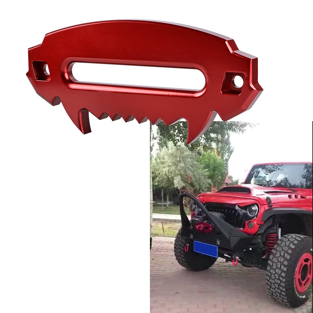 Astra Depot Universal RED Aluminum Alloy Fury Serie Hawse Fairlead Beast Front Bumper Synthetic Winch for Jeep Truck Off-Road 4x4 4DW Wrangler Rubicon Sahara Sport JK JKU Car Auto Accessories