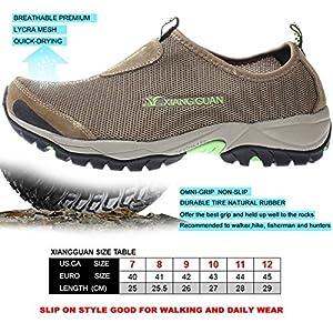 XIANG GUAN Xiangguan Mens Water Shoes Breathable Lightweight Beach River Walking Shoe For Fishing Outdoor (12 D(M) US= EURO45= 11.42in, Laceup-Kakhi)