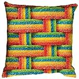 iscream Airheads Xtremes Rainbow Candy Print 16'' Fleece Back Microbead Pillow