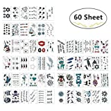 180+ Temporary Tattoos Sticker, Magnolora 60 Sheet Temporary Fake Tattoo Stickers Various Designs Removable Waterproof Body Art Tattoos Sticker for Body and Cellphones