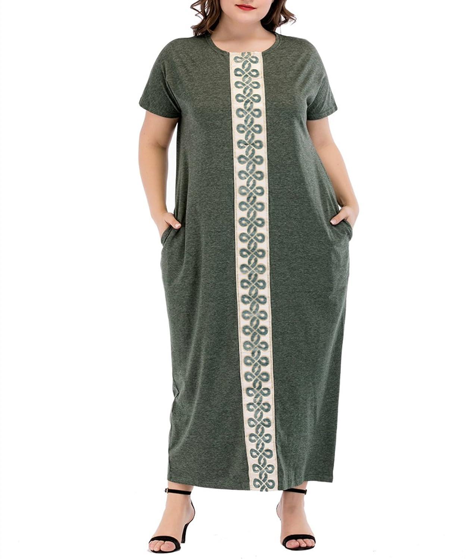 035b491bd36bfa 60%OFF zhbotaolang Frauen Muslimischen Plus Größe Sommer Casual Kurzarm  Locker Maxi Kleid mit Taschen