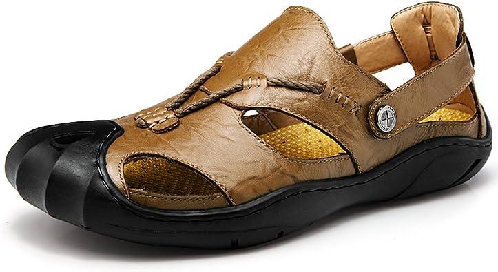 GOMNEAR Homme Cuir Sandales Bout Fermé Été Cuir Randonnée Fermées Leather Chaussures Respirant