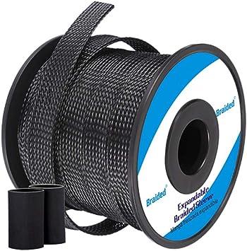 100ft Black Alex Tech braid 1//2 inch Flexo PET Expandable Braided Sleeving
