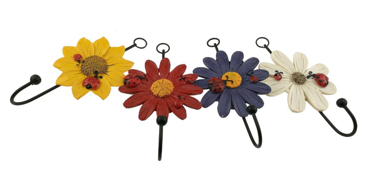 Country Style Set of 4 Daisy Little Chrysanthemum Sunflower Ladybug Pattern Resin Wall Mount Hanger Hook Home Decoration Ornament Gift
