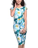 Misaky Lady Dress, Floral Pattern Business Casual Work Party Pencil Dress
