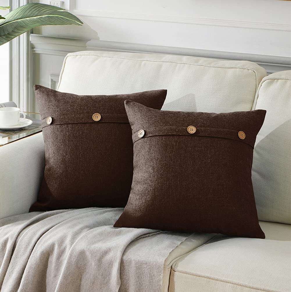 Andaot 2 Packs Outdoor Throw Pillow Covers with Triple Button, Waterproof Linen Cushion Covers for Patio Furniture Hammock Tent Balcony Couch, Farmhouse Home Decor (18x18 Inch/45x45 cm, Brown)