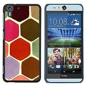 Stuss Case / Funda Carcasa protectora - Escalas en colores pastel tortuga Hexágono Rosa Verde - HTC Desire Eye ( M910x )