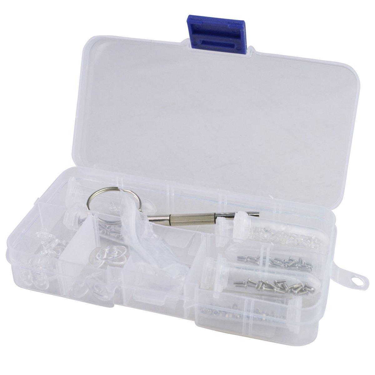 TRIXES Kit de Reparación de Lentes Gafas de Sol Almohadilla de Nariz, Tornillos Tuercas Arandelas