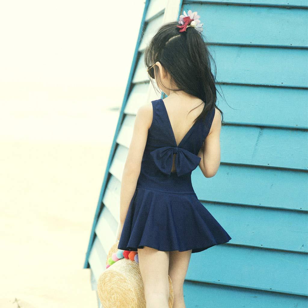 Age:5-6 Years, Dark Blue Baby Girls Swimwear 3-8 Y Kids Swimsuit Children Summer Beach Swimming Wear