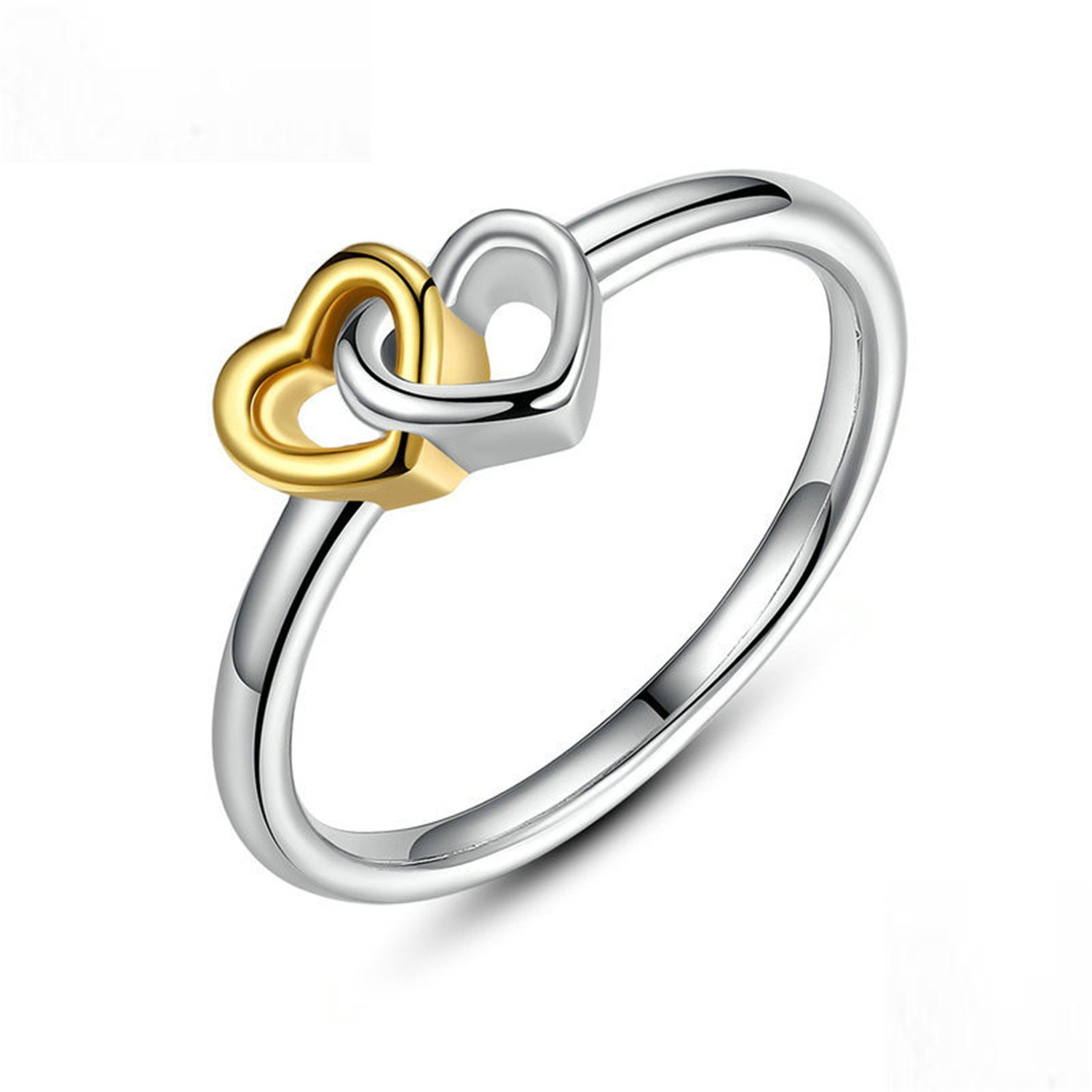 Baqijian Summer Collection Sterling Heart To Heart Ring Double Heart Jewelry Women Pa7173