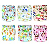 Image of InnooBaby Premium Baby Cloth Pocket Diapers Unisex Prints, 6 All-in -One -Size Diapers with 12 Inserts, Absorbent and No Leaks, Soft for Skin, Reusable and Washable