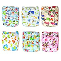 InnooBaby Premium Baby Cloth Pocket Diapers Unisex Prints, 6 All-in -One -Siz...