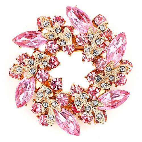 LuckyJewelry Fancy Vintage Rhinestone Crystal Flower Brooch Bouquet Pins For Sale Cheap (Pink)