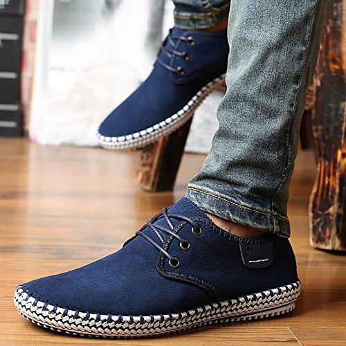 scamosciato casuale scarpe Dimensione Blu Bebete5858 PU 48 Grande Uomini particolarmente Inghilterra Uomo Extra stile Pelle CPqwT0