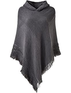 7647f67b9 Ferand Ladies' Hooded Cape with Fringed Hem, Crochet Poncho Knitting  Patterns for Women