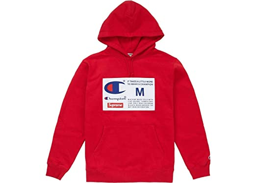 953a6c29cf5a Supreme Champion Label Hooded Sweatshirt Hoodie Red FW18 100% Authentic  Real Designer Rare (Medium