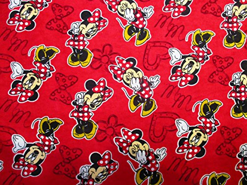 1 Yard Minnie Mouse Flannel from Springs Creative cotton quilt fabric 15285 Disney ()